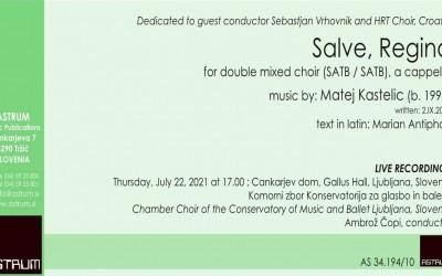 NEW - Kastelic Matej: SALVE, REGINA for double mixed choir (SATB / SATB), a cappella (2020)