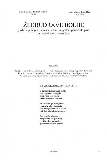 ŽLOBUDRAVE BOLHE [Chattering Fleas]  (Vocal Score)