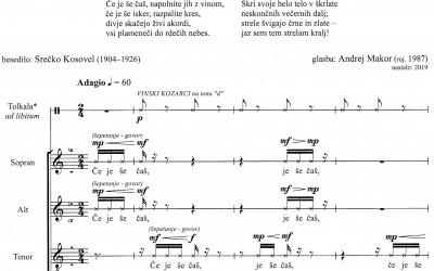 NEW - Makor Andrej: PLES V RDEČEM [A Dance in Red] (Srečko Kosovel) for mixed choir (SATBdiv) and percussion ad libitum