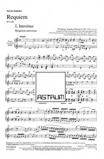 REQUIEM - Piano Four-hands Part [performing purchase]