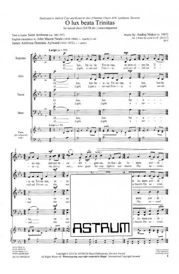O lux beata Trinitas (SATBdiv)