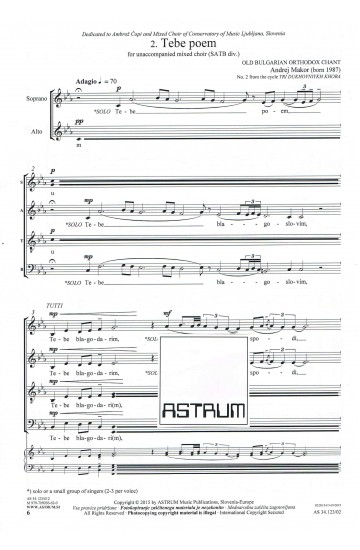 TRI DUKHOVNIYKH KHORA (SATB div.) - Choral Score
