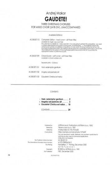GAUDETE! - Three Christmas Choruses for Mixed Choir (SATBdiv) - Complete Edition