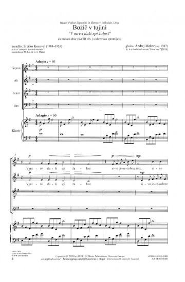 "Božič v tujini ""V mrtvi duši spi žalost"" (Christmas Abroad ""Sorrow sleeps in a dead soul"") - SATBdiv and piano"