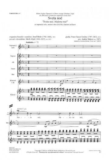 "Sveta noč ""Sveta noč, blažena noč"" (Silent Night ""Silent night, holy night) - soprano(s) solo, SATB, clarinet and piano"